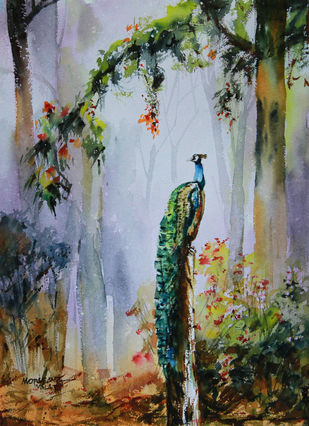 Waiting for the thunder shower by Mopasang Valath, Impressionism Painting, Watercolor on Paper, Brown color