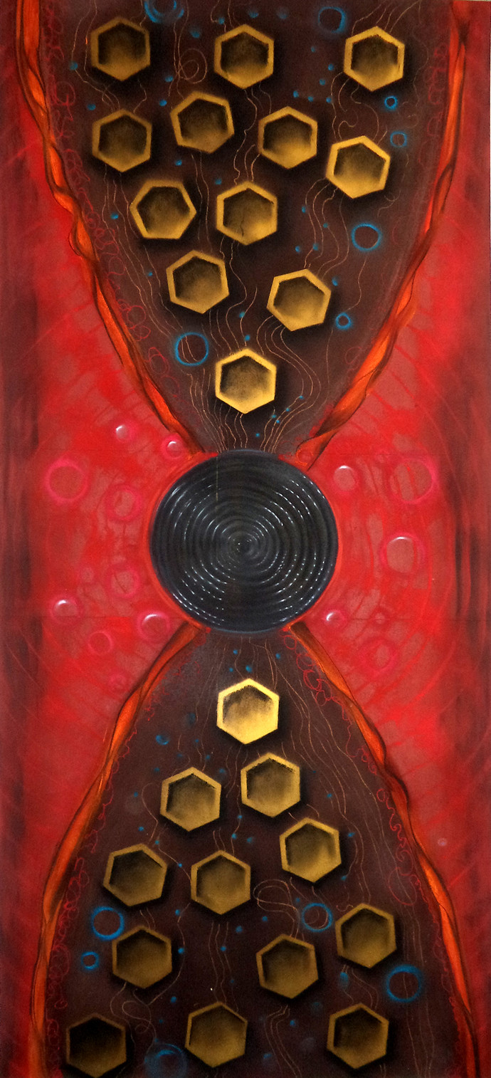"""research""""the symbol of Gene and past ,present and future"""" by vennimalai, Geometrical Painting, Dry Pastel on Paper, Brown color"""