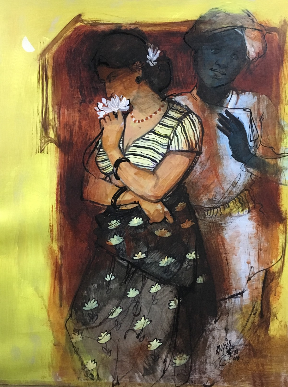 couple by Ramchandra Kharatmal, Expressionism Painting, Acrylic on Paper, Brown color