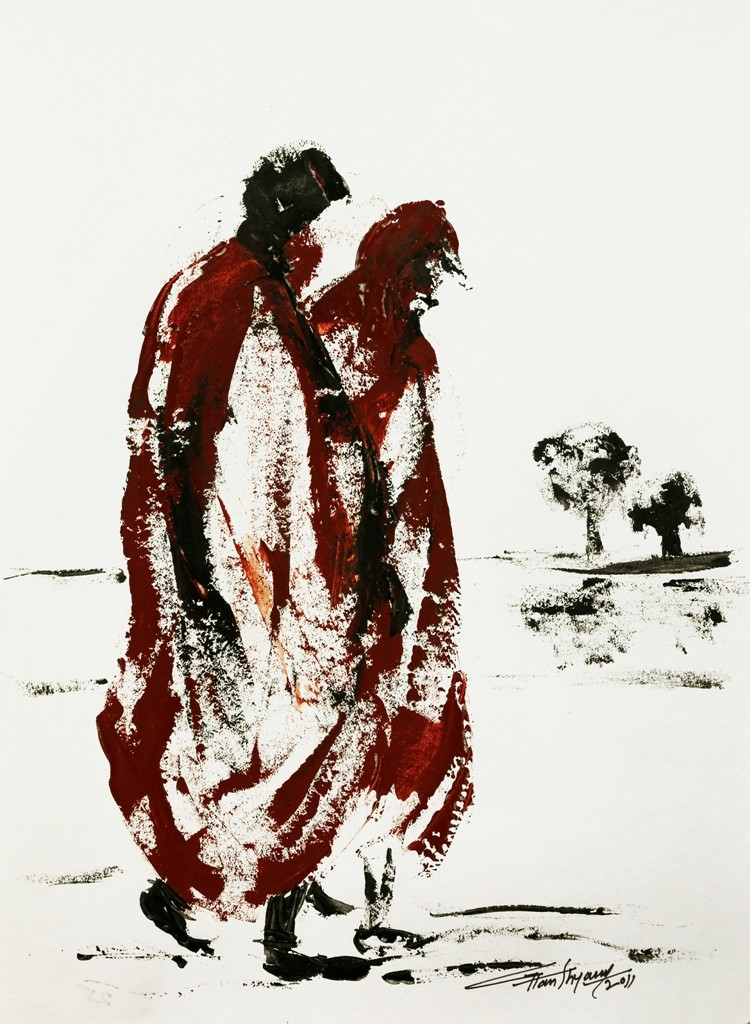 untitled by Ghanshyam Kashyap, Impressionism Painting, Acrylic on Paper, Gray color