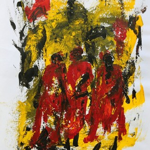 untitled by Ghanshyam Kashyap, Abstract Painting, Acrylic on Paper, Brown color