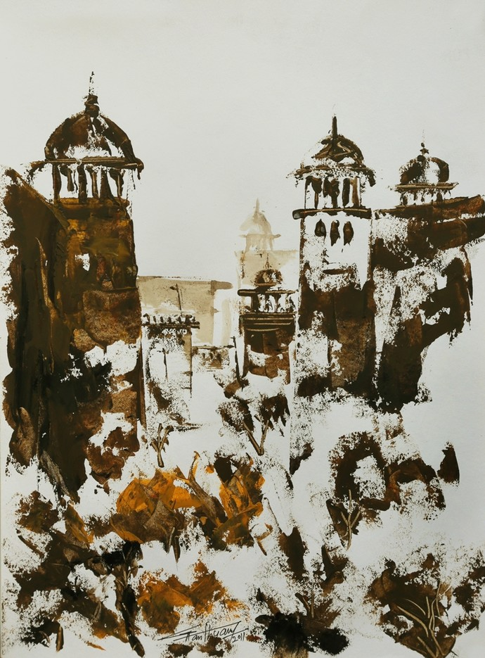 untitled by Ghanshyam Kashyap, Expressionism Painting, Acrylic on Paper, Brown color