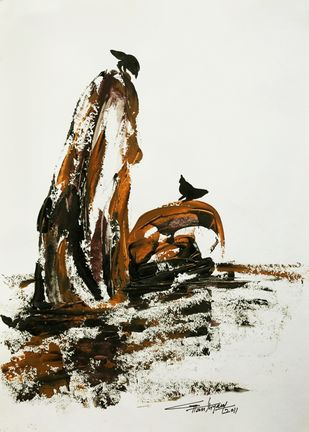 untitled by Ghanshyam Kashyap, Expressionism Painting, Acrylic on Paper, Gray color