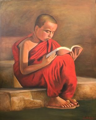 Monk by Sai Kalyani, Expressionism Painting, Acrylic on Canvas, Brown color