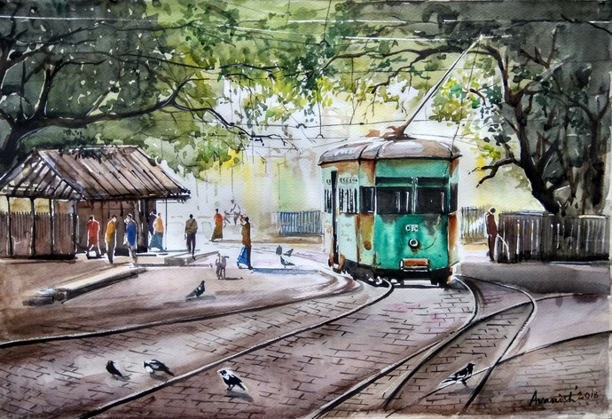 Calcutta Painting.. Calcutta 1990s by Avanish Trivedi, Impressionism Painting, Watercolor on Paper, Gray color