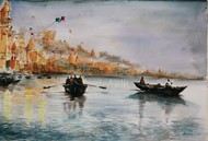 Shyam e Benaras by Avanish Trivedi, Impressionism Painting, Watercolor on Paper, Gray color