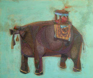 NON RUMINANT by Tamojit Bhattacharya, Expressionism Painting, Acrylic on Canvas, Cyan color