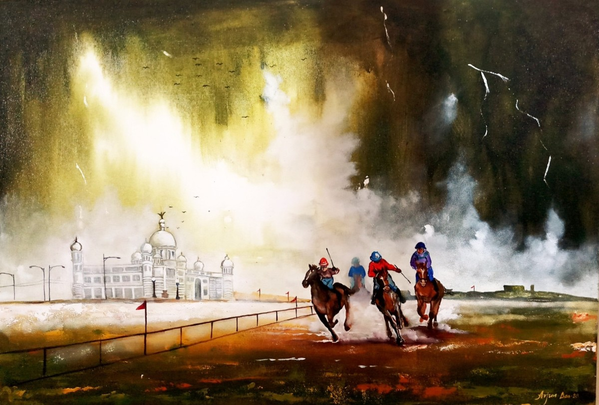 Horse Rider in Rainy Day (kolkata) by Arjun das, Expressionism Painting, Acrylic on Canvas, Brown color