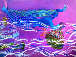 Water Girl Digital Print by Sunita Dinda,Traditional