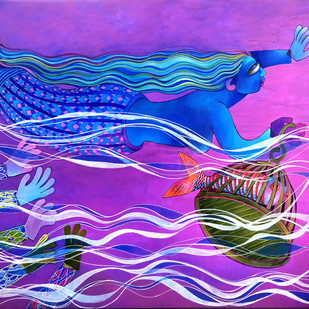 Water Girl by Sunita Dinda, Traditional Painting, Acrylic on Canvas, Purple color