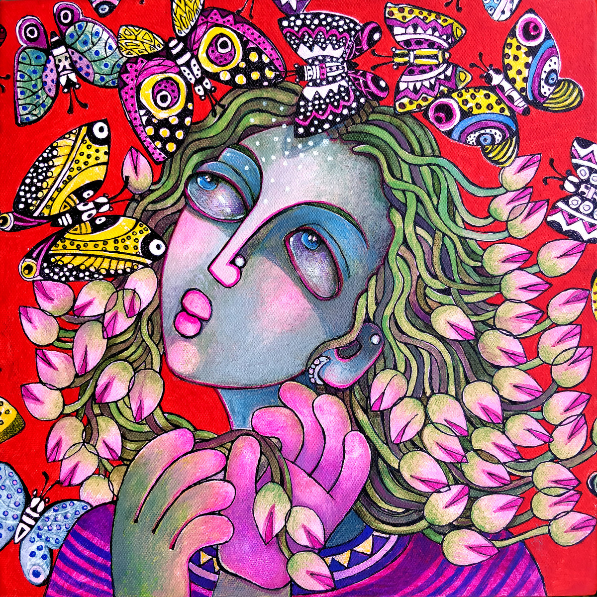 Flower Girl by Sunita Dinda, Expressionism Painting, Acrylic on Canvas, Pink color