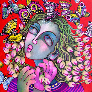 Flower Girl Digital Print by Sunita Dinda,Expressionism