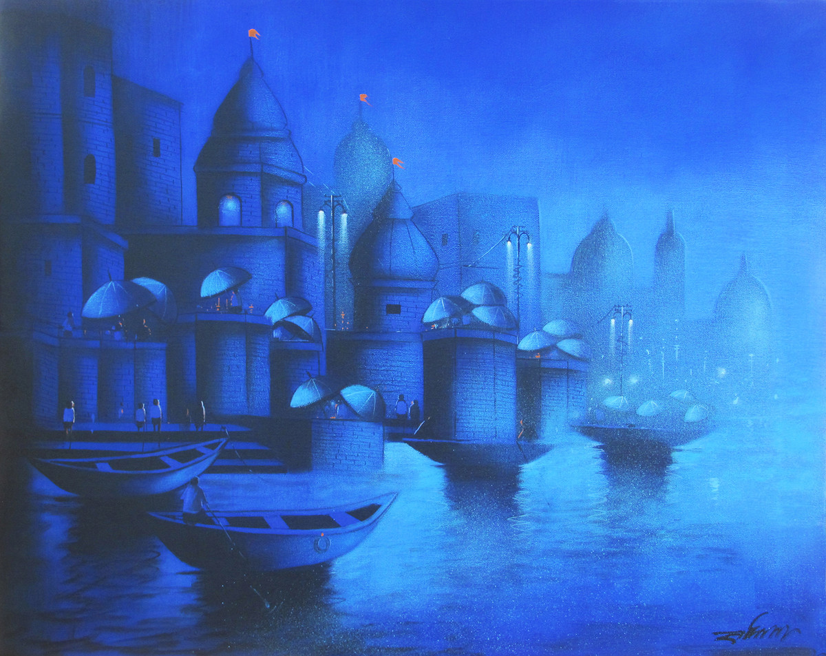 Moonlight in Banaras by Somnath Bothe, Impressionism Painting, Acrylic on Canvas, Blue color