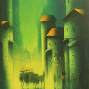 Monsoon Ride by Somnath Bothe, Impressionism Painting, Acrylic on Canvas, Green color