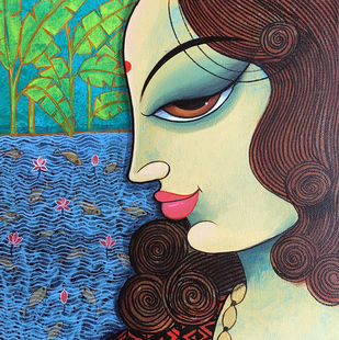 face 35 by Varsha Kharatmal, Decorative Painting, Acrylic on Canvas, Blue color
