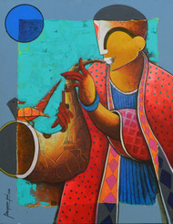 rhythmic conversation by anupam pal, Decorative Painting, Acrylic & Ink on Canvas, Brown color