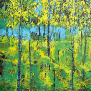 Amaltas in Bloom 3 by Animesh Roy, Impressionism Painting, Acrylic on Canvas, Green color