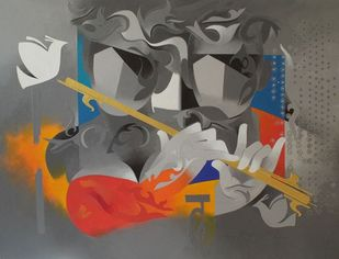 joy of music-19 by RANJIT SINGH KURMI, Abstract Painting, Acrylic on Canvas, Gray color