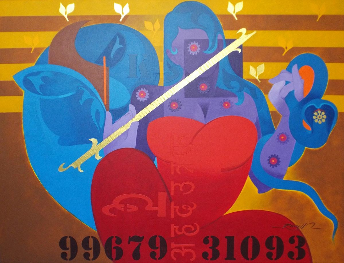 joy of music-20 by RANJIT SINGH KURMI, Geometrical Painting, Acrylic on Canvas, Brown color