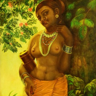 MAARASARAM (Cupid's Arrow) by R Sukumaran, Expressionism Painting, Oil on Canvas, Brown color