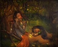 DHEERA SAMEERE YAMUNA THEERE (Breezy banks of the Yamuna) by R Sukumaran, Traditional Painting, Oil on Canvas, Brown color