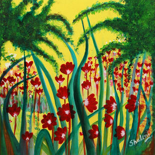 Garden -1 ON CANVAS by Shalini Goyal, Expressionism Printmaking, Oil & Acrylic on Canvas, Green color