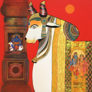 Nandi by Ashok Rathod, Expressionism Painting, Acrylic on Canvas, Brown color
