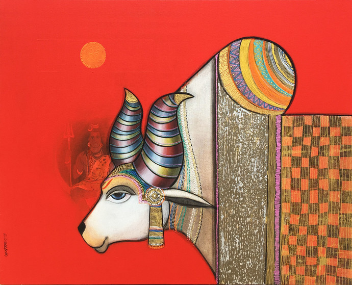 Shiv Nandi 1 by Ashok Rathod, Expressionism Painting, Acrylic on Canvas, Red color
