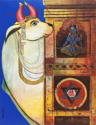 Shiv Nandi 2 by Ashok Rathod, Expressionism Painting, Acrylic on Canvas, Brown color