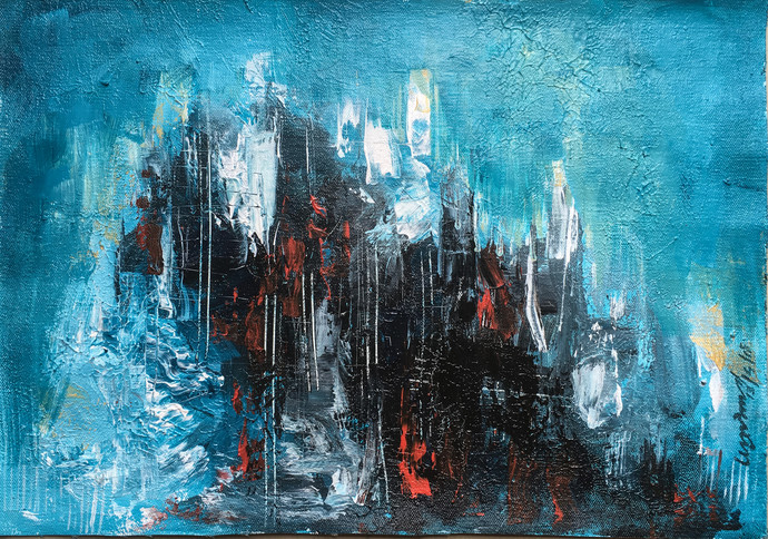 UNTITLED by ANUP KR SARMA, Abstract Painting, Acrylic on Canvas, Cyan color