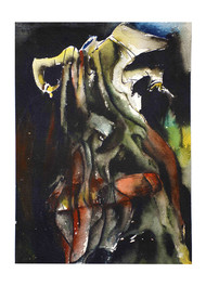 GAYAN BAYAN by ANUP KR SARMA, Abstract Painting, Acrylic on Paper, Gray color