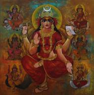 Sapta matrika-18 by Rajeshwar Nyalapalli, Expressionism Painting, Acrylic on Canvas, Brown color