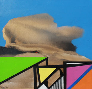 GOLDEN CLOUD SQUARE by Prabhinder Lall, Geometrical Painting, Acrylic on Canvas, Blue color