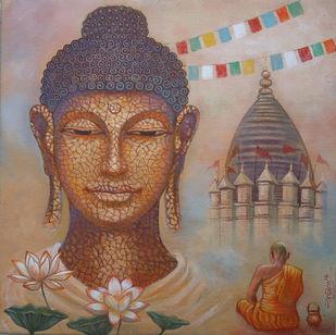 BUDDHA-I by Ram Kumar Maheshwari, Expressionism Painting, Acrylic on Canvas, Brown color