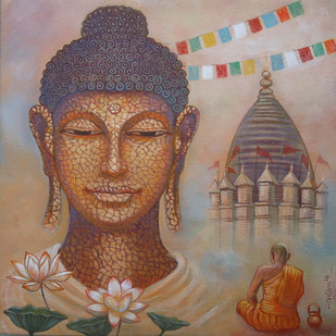 BUDDHA-I by Ram Kumar Maheshwari, Expressionism Painting, Acrylic on Canvas, Brown color