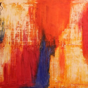 Wish you were here...... by PRATAP SINGH, Abstract Painting, Oil & Acrylic on Canvas, Red color