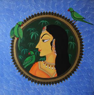 Framed In by Priyanka Rathore, Traditional Painting, Acrylic on Canvas, Blue color