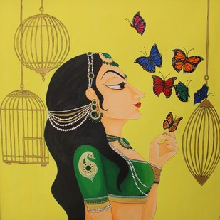 Free Soul by Priyanka Rathore, Traditional Painting, Acrylic on Canvas, Beige color