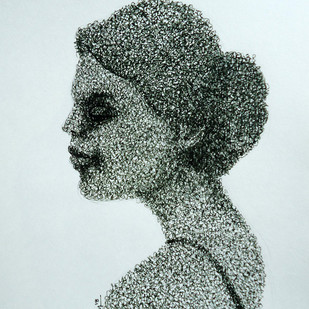 feel-II by Ram Kumar Maheshwari, Illustration Drawing, Pen on Paper, Cyan color