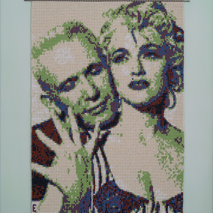 "Affair ""Madonna & Jean Paul Gaultier"" by Emeldart, Expressionism Painting, Fiber Glass, Beige color"