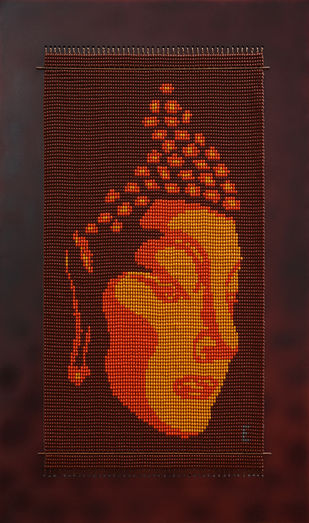 "The Enlightened One ""Buddha"" by Emeldart, Expressionism Painting, Fiber Glass, Brown color"