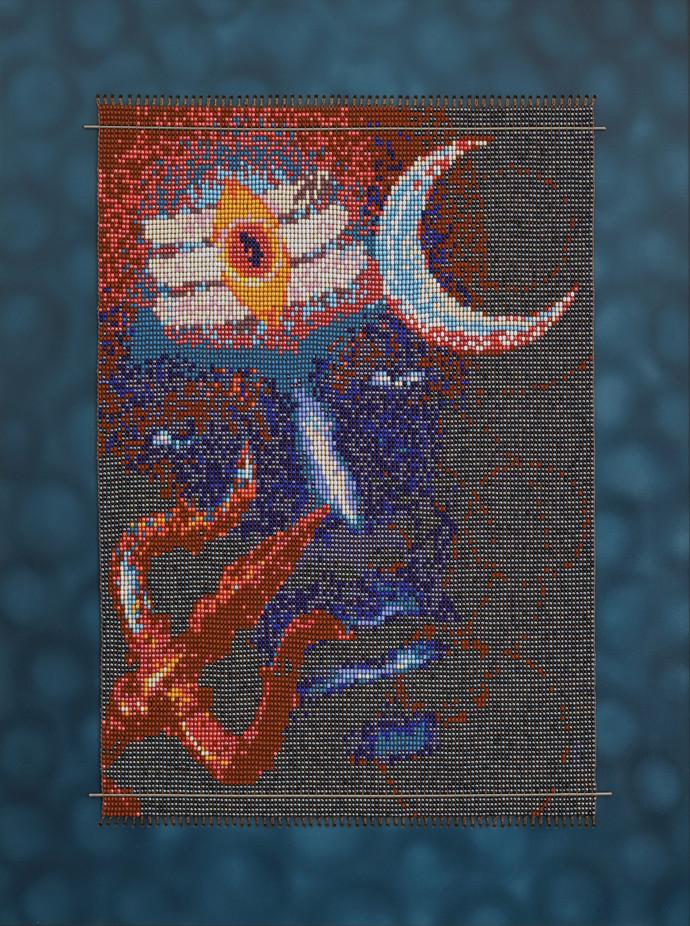 """Bhalanetra """" Mahadeva"""" by Emeldart, Impressionism Painting, Fiber Glass, Blue color"""