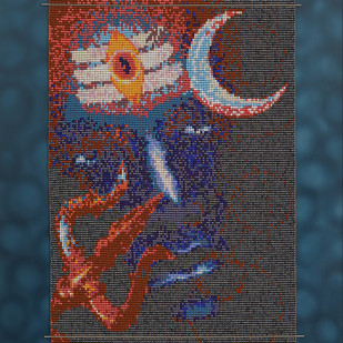 "Bhalanetra "" Mahadeva"" by Emeldart, Impressionism Painting, Fiber Glass, Blue color"