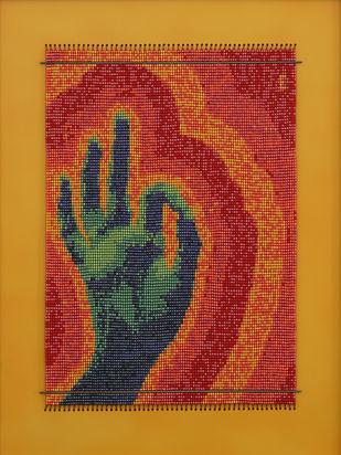 "Vitarka ""Buddha Palm"" by Emeldart, Expressionism Painting, Fiber Glass, Brown color"
