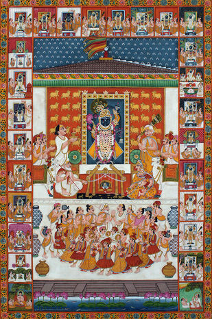 utsav by Unknown Artist, Folk Painting, Stone Colour on Cloth, Brown color