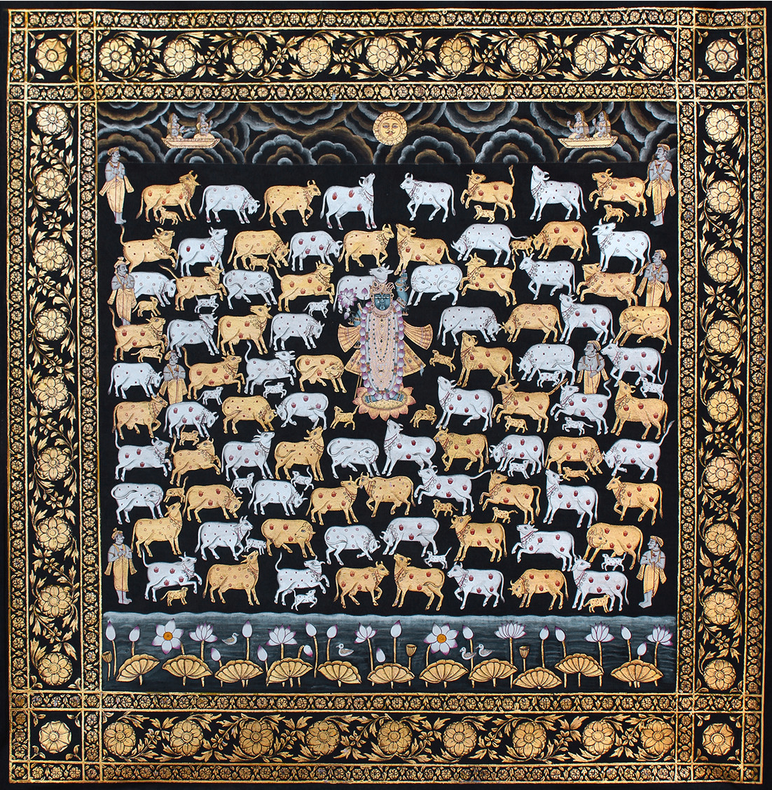 Krishna With Cows by Unknown Artist, Folk Painting, Stone Colour on Cloth, Brown color