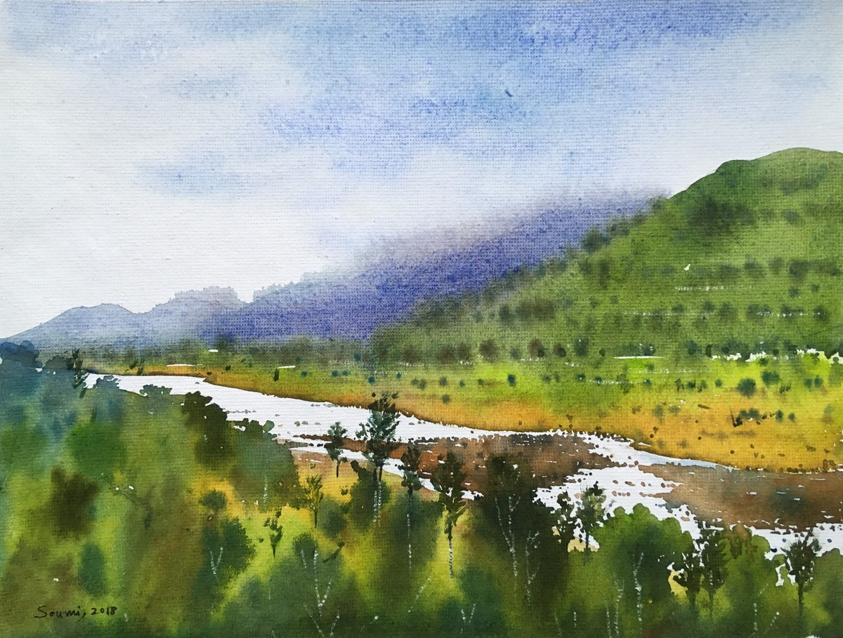 landscape 4 by SOUMI JANA, Impressionism Painting, Watercolor on Paper, Green color