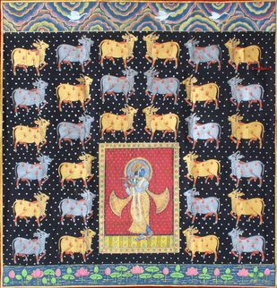Krishana With Cows by Unknown Artist, Folk Painting, Stone Colour on Cloth, Brown color