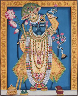 Shrinath Ji by Unknown Artist, Folk Painting, Stone Colour on Cloth, Brown color