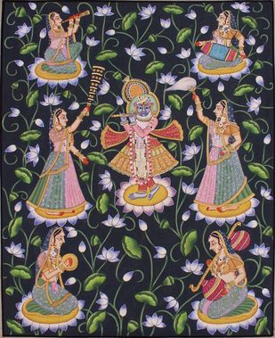 Krishana With Goppies by Unknown Artist, Folk Painting, Stone Colour on Cloth, Gray color